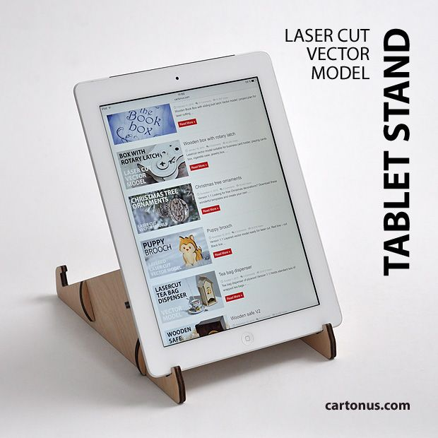 Tablet stand project plan. For laser cut, free project.