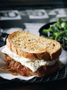 Egg White with Caramelized Onions and Homemade Fig Jam Sandwich with Salad and Maple Balsamic Dressing