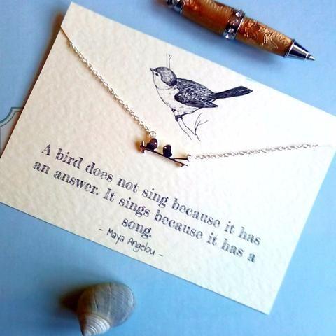 Silver birds necklace