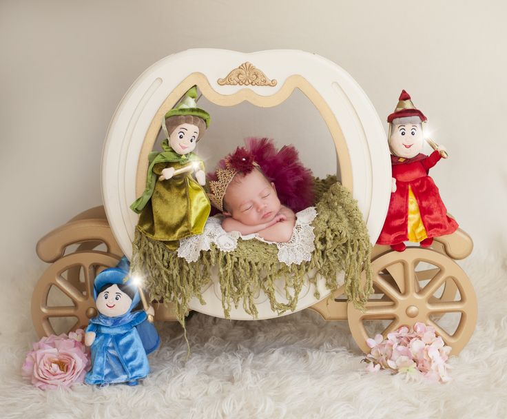 new baby fairytale shoot with Princess Aurora and her fairy godmothers