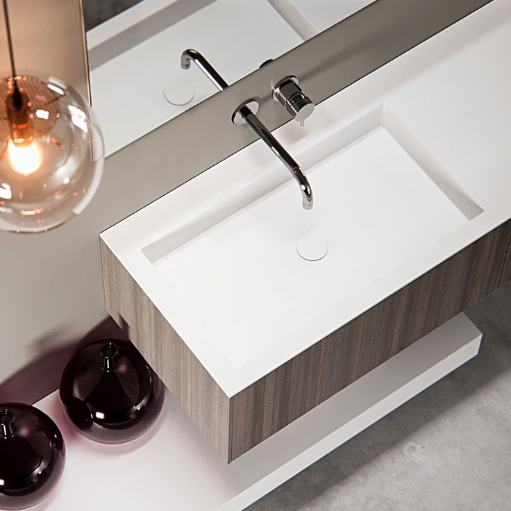 Clay BASIC - Made to measure washbasin in white Solid surface with wooden base cabinet.