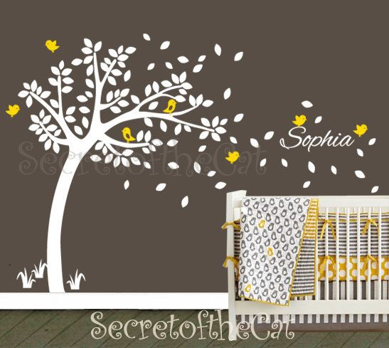 Nursery Wall Decal. Wall Decals Nursery.  Nursery Decal. Tree and Custom Name Wall Decal. Windy Tree Decal . Monogram . Nursery by secretofthecat on Etsy https://www.etsy.com/uk/listing/108068473/nursery-wall-decal-wall-decals-nursery