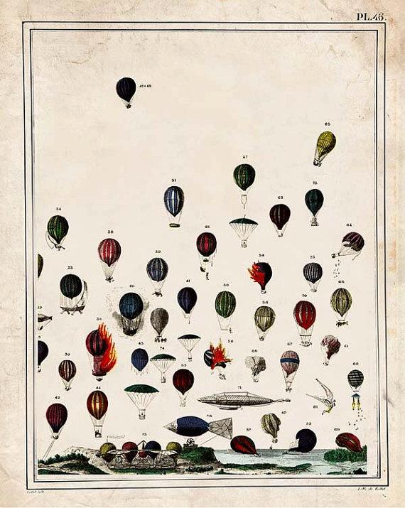 "Hot Air Balloon ""Up and Away"" Steampunk Victorian Antique Print - Striped Circus Art"