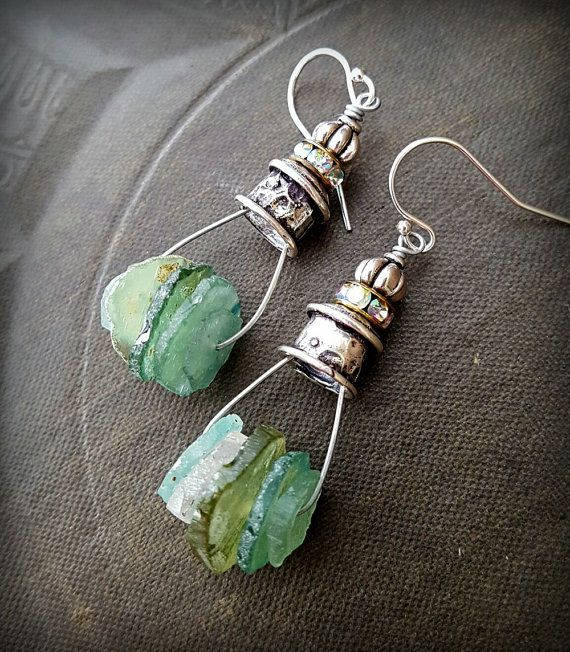 Ancient Roman Glass Silver Caps Roman Glass Earring by YuccaBloom