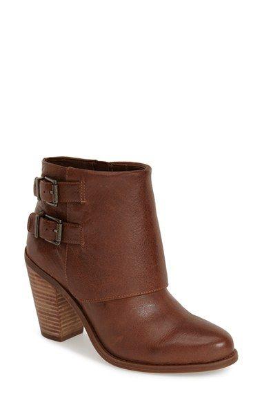 Jessica Simpson 'Cainn' Bootie leather bourbon, black, slater taupe 5.5sh 3.25h sz7.5 128.95