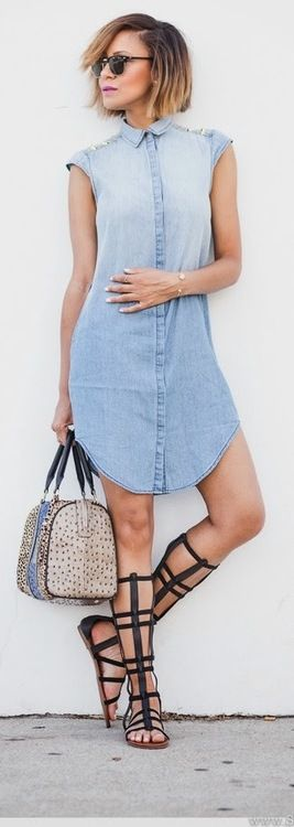 Denim  Gladiators -   StuffSheLikes // Hmm somehow this works on her but I have a feeling it would be a disaster on me...