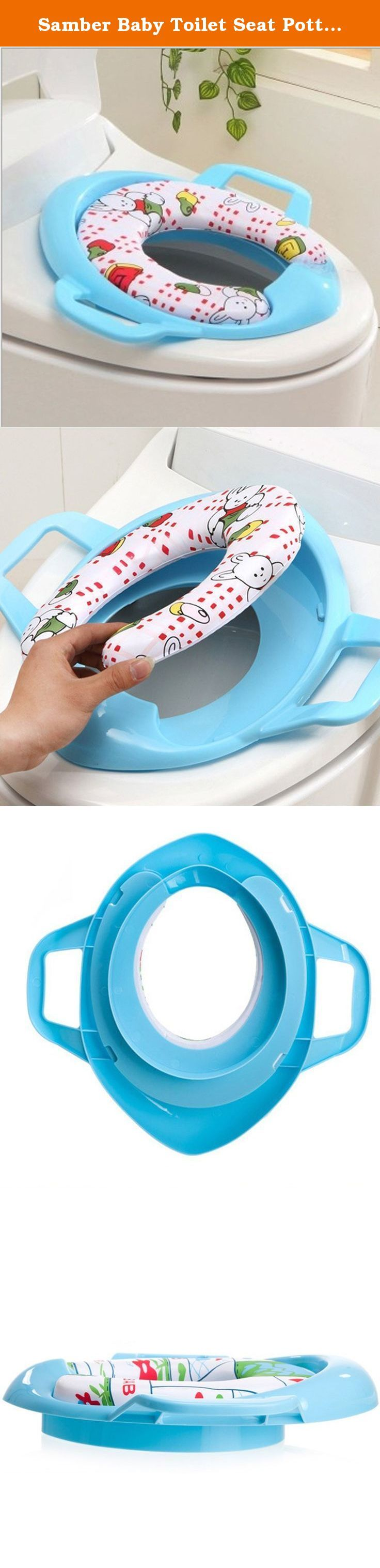 Samber Baby Toilet Seat Potty Training Seat Potty Ring (Blue). Features: 1. With the use of environmental protection grade PP, healthy and environmental friendly, wear-resisting and impact resistant , durable, easy to clean. 2. The seat with soft PC sponge let your baby use toilet comfortably. 3. It can make baby use toilet safely with handle design on both sides. 4. Easy to use without installation, directly to put the toilet seat on the toilet, and then let the bottom of the anti-slip…