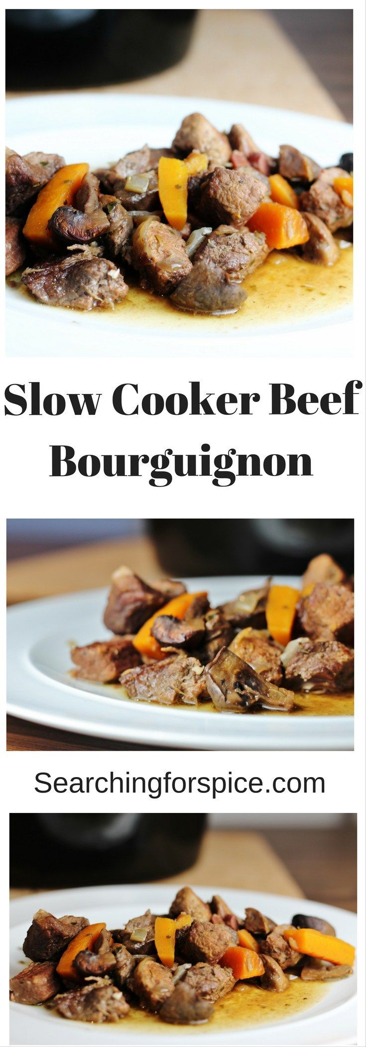 Slow Cooker Beef Bourguignon.  A delicious comforting stew that's perfect for this time of year. #Slowcooker #recipe #beef
