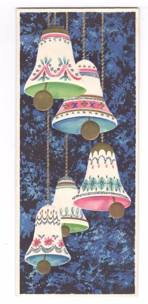 Vintage Christmas Greeting Card Pastel Color Bells 1950's | eBay
