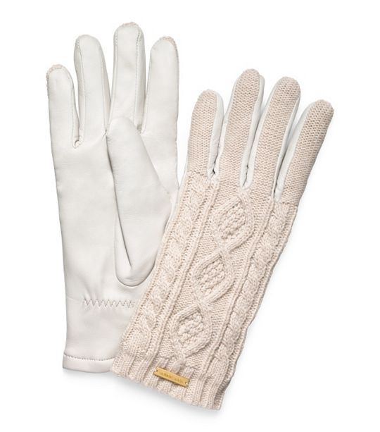 white knit + leather gloves for her