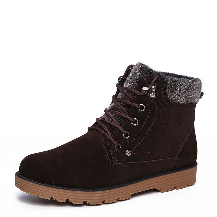 Classic Plush-Lined Lace-Up Vintage-Style Warm Short-Ankle Boot 3 Colors