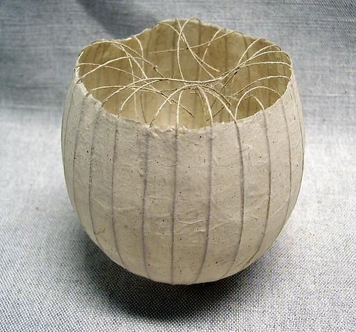 Kay Sekimachi - BALL/BOWL (paper bowl with strings)   bowl crafts and decorative art paper c. 1985