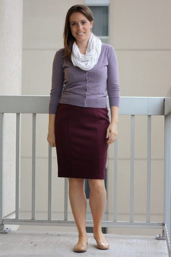 maroon skirt, lavendar cardigan and scarf with nude flats – fall without tights …