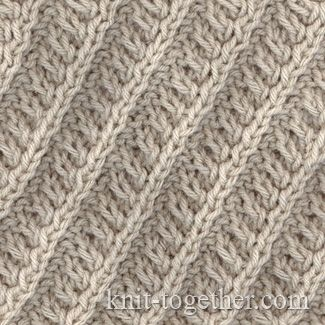 Inclined Relief Stripes with needles, Knitting Patterns Chart, Textured Stitches Patterns