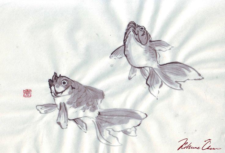 #сумиэ #японскаяживопись #графика #тушь #чернобелое #природа #япония #sumie #Japanesepaintings #ink #blackandwhite #nature #carp #карпы #рыбы #рыба #fish