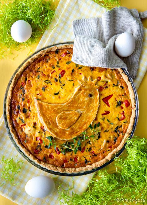 Kananpojan piirakka #leivonta #pääsiäinen #piirakka #suolainen #resepti #kana