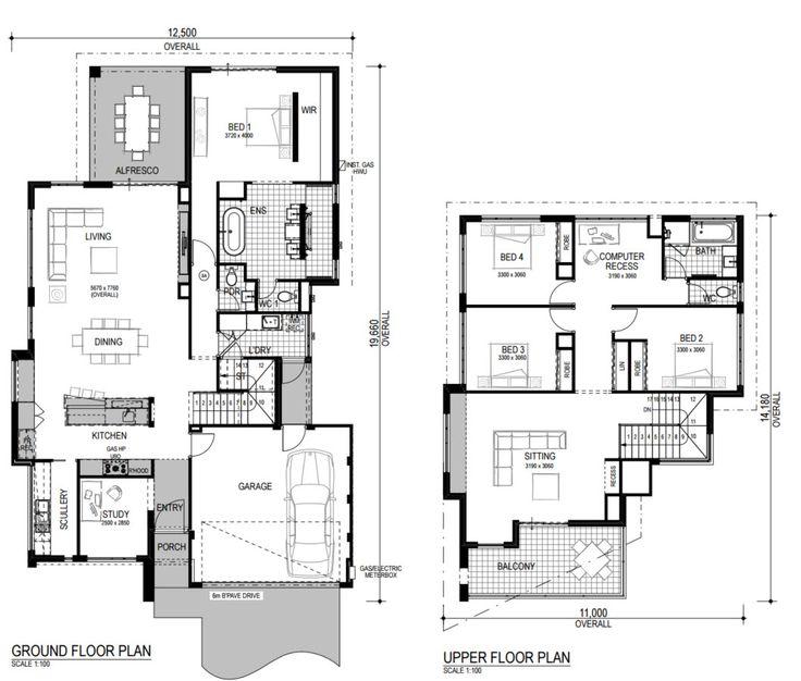planos de casas modernas de dos pisos grandes