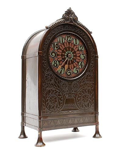 Found on www.botterweg.com - Blackened copper and etched Amsterdam School mantel clock with dial with green painted numbers design H.J.Winkelman ca.1920 executed by Winkelman van der Bijl Amsterdam / the Netherlands