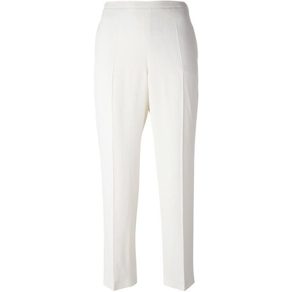 Antonio Marras cigarette trousers ($111) ❤ liked on Polyvore featuring pants, white cigarette trousers, white trousers, cigarette pants, white cigarette pants and antonio marras