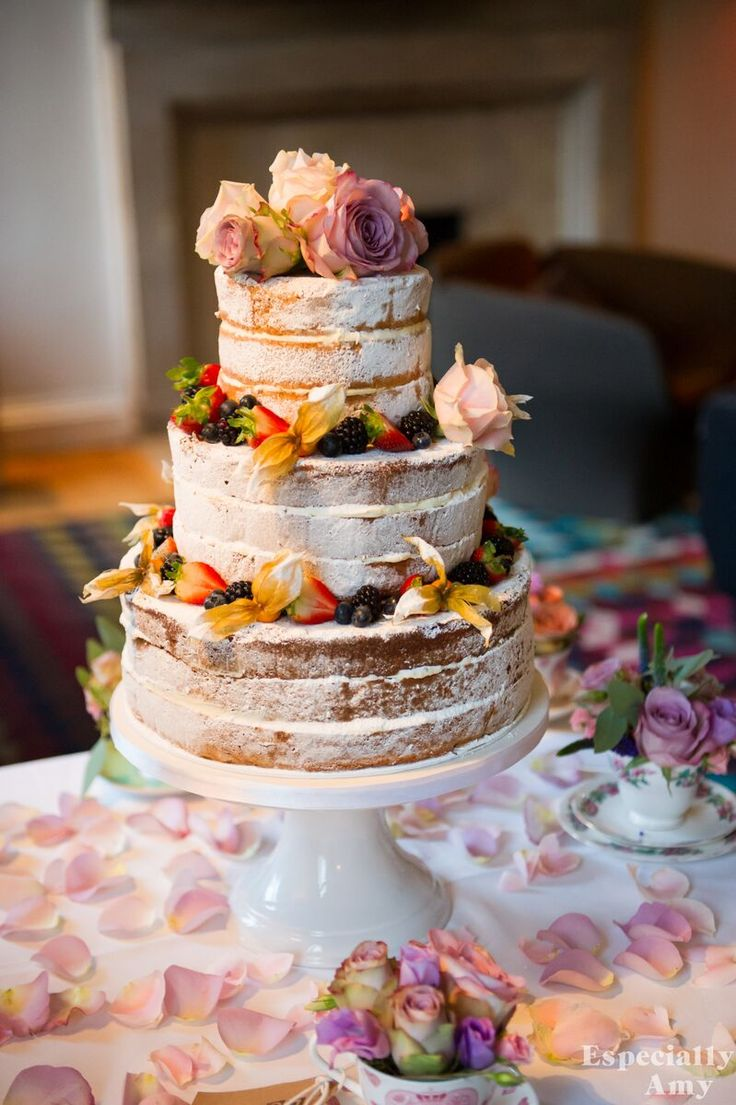 Naked 3 tier cake   Wedding photography   Autumnal flowers   Contemporary Cake Designs   Cowley Manor   http://especiallyamy.co.uk/