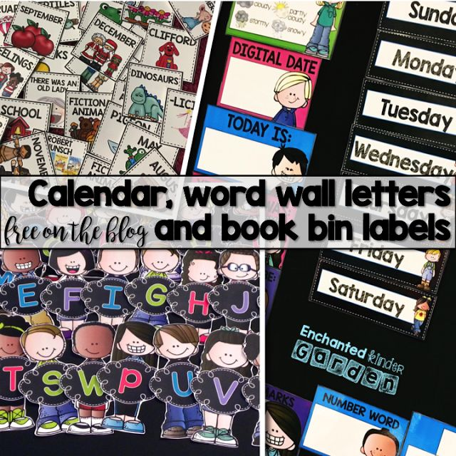 Free book bin labels, word wall letters and calendar files