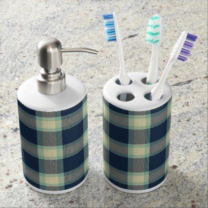 Dark Blue Mint Jade Green Classic Tartan Pattern Soap Dispenser And Toothbrush Holder - trendy gifts cool gift ideas customize
