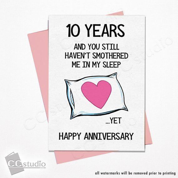 10 Year Anniversary Card Wife Anniversary Card Funny Etsy Funny Anniversary Cards Anniversary Funny 20 Year Anniversary Cards
