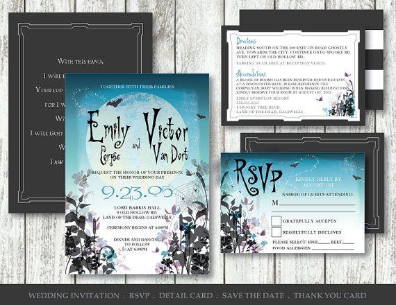 Corpse Bride Invitation Digital Printable by SpectraArtStudio