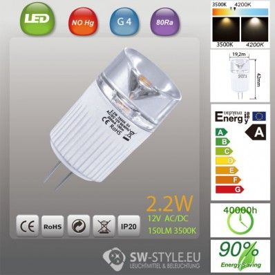 Power LED Energiesparlampe 2.2W G4 3500K 12V AC/DC 22435HL
