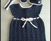 Robe - Babies et Bandeau crochetés main Bleu Marine et Blanc : Mode Bébé par mamountricote