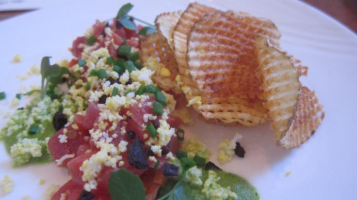 modern tuna nicoise  tuna belly, tomato tapenade, pickled green bean vinaigrette...@boarding house nantucket