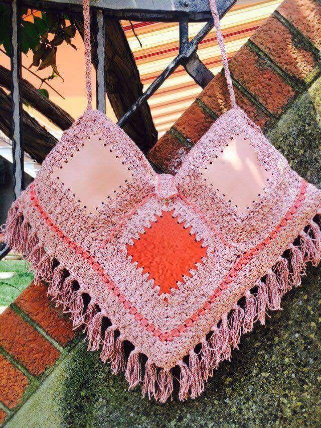 Borsa a tracolla bicolore (rosso e rosa) in cotone e vera pelle con frange: Aquarius : Borse a tracolla di bags-dream-team