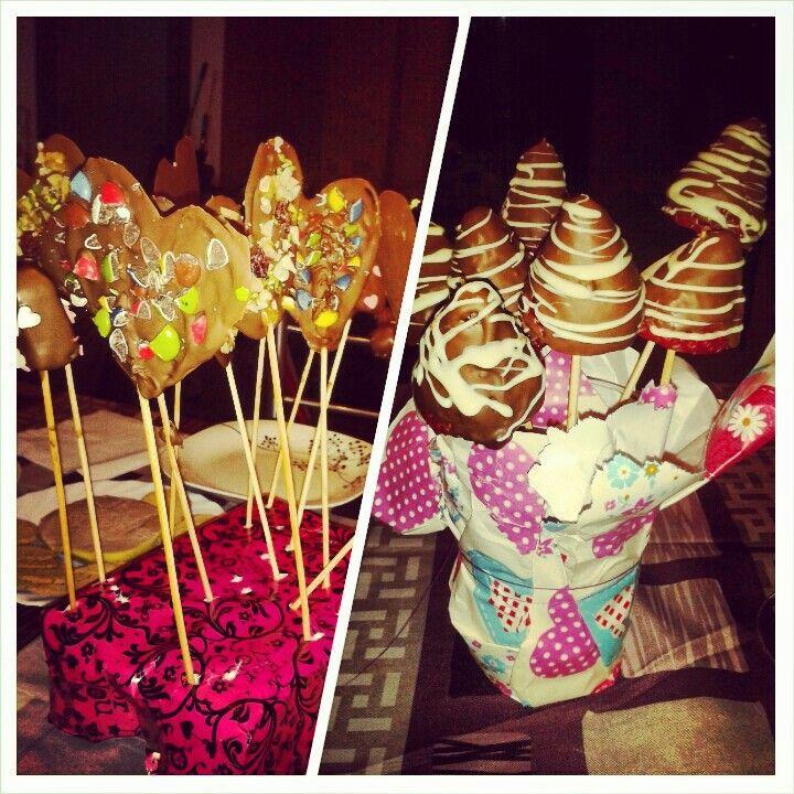 Piruletas de chocolate San Valentin