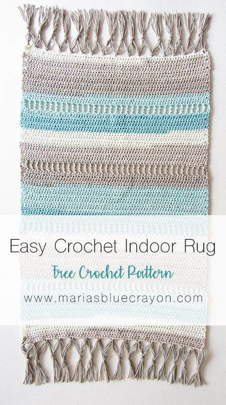Coastal Indoor Rug - Free Crochet Pattern made with Caron Cotton Cakes - Maria's Blue Crayon