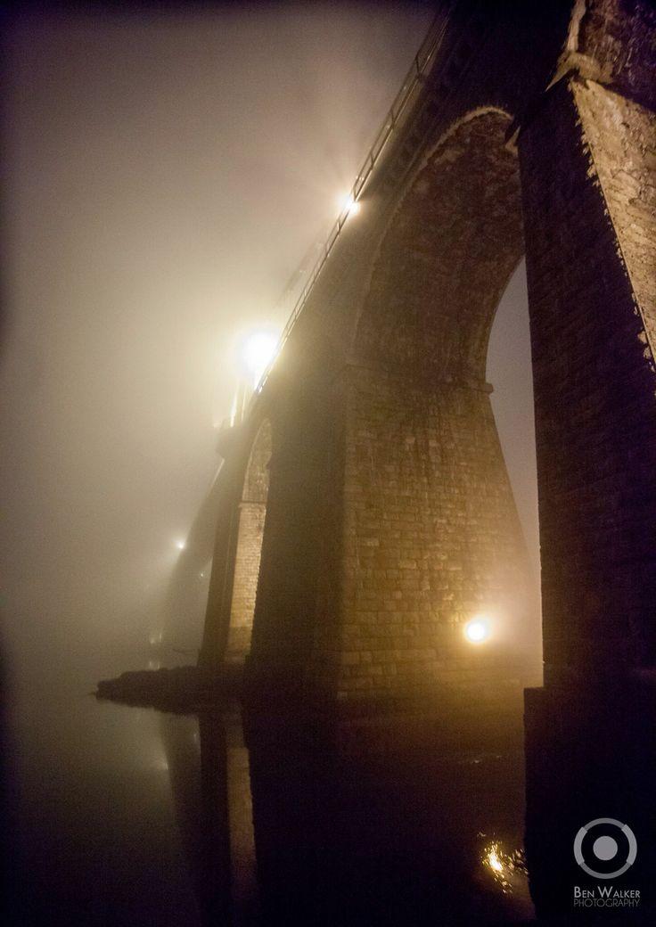 Menai Suspension Bridge, North Wales, in the fog