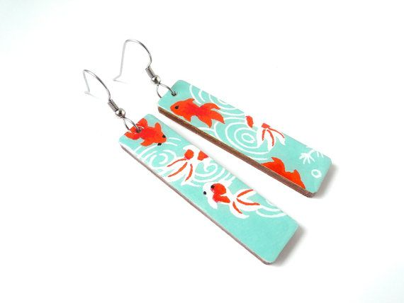 Turquoise and Red Earrings, Koi Fish, Kingyo, Long Earrings, Japanese Earrings, Laser Cut Wood, Lightweight, Gift Under 20, Gold fish via Etsy