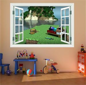 Huge Minecraft Magic Window Full colour print Wall Art Sticker Decal Mural Game   eBay