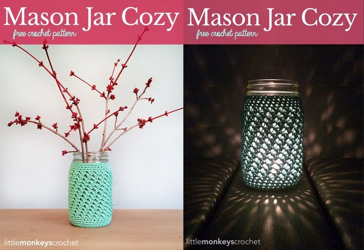 Mason Jar are perfectly versatile decorations. They look even better with crochet cozy, which can be made with Mason Jar Cover Free Crochet Patterns.