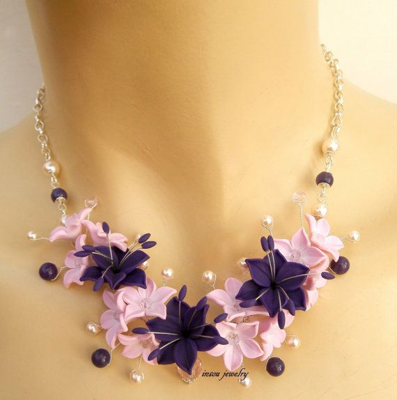 Wedding Necklace, Flower Necklace, Pink Jewelry, Violet Jewelry, Lily, Handmade…