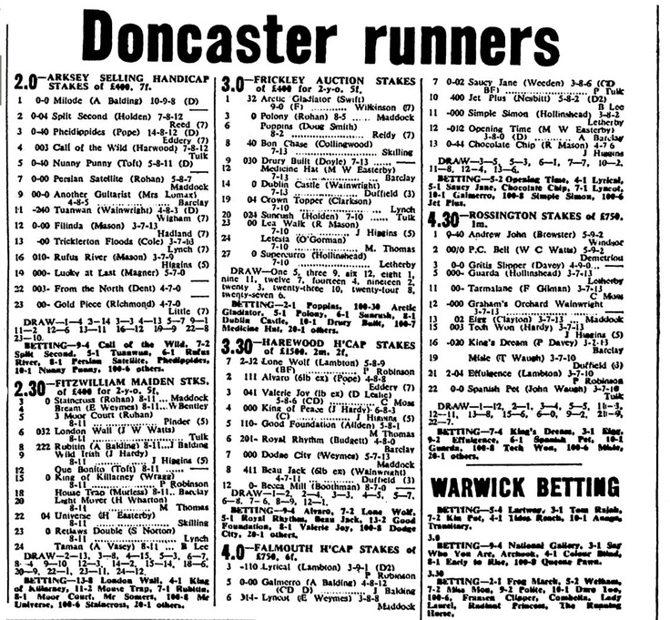 Doncaster Racecard for 1969