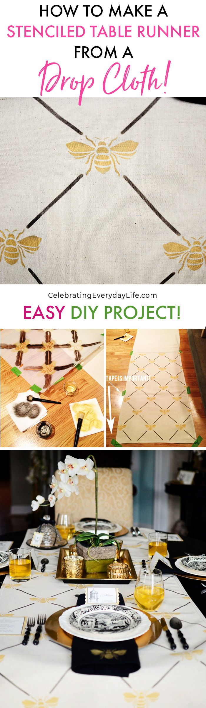 How to Make a Custom Stenciled Table Runner from a Drop Cloth! Easy Budget-friendly DIY decor that you can do in a day! via @jencarrollva