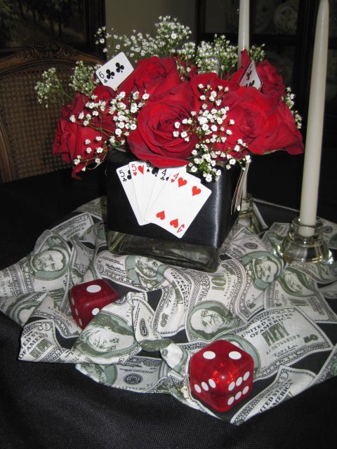 .Casino Night Red Rose & Money Centerpiece