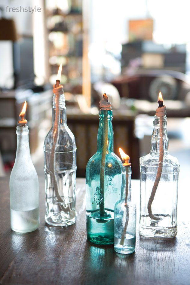 Turn Recycled Glass Bottles Into Vintage Oil Lamps - Fresh Style Magazine