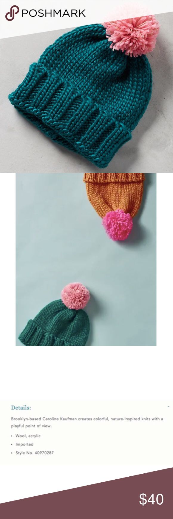 Anthropologie Caroline Kaufman Teal Midtown Beanie Details: Brand new with tags. Color: Teal with pink pom. This popular Beanie is completely sold out. Brooklyn-based Caroline Kaufman creates colorful, nature-inspired knits with a playful point of view. Toasty warm with a whimsical touch for wintry weather. Wool, acrylic Imported Style No. 40970287 Anthropologie Accessories Hats
