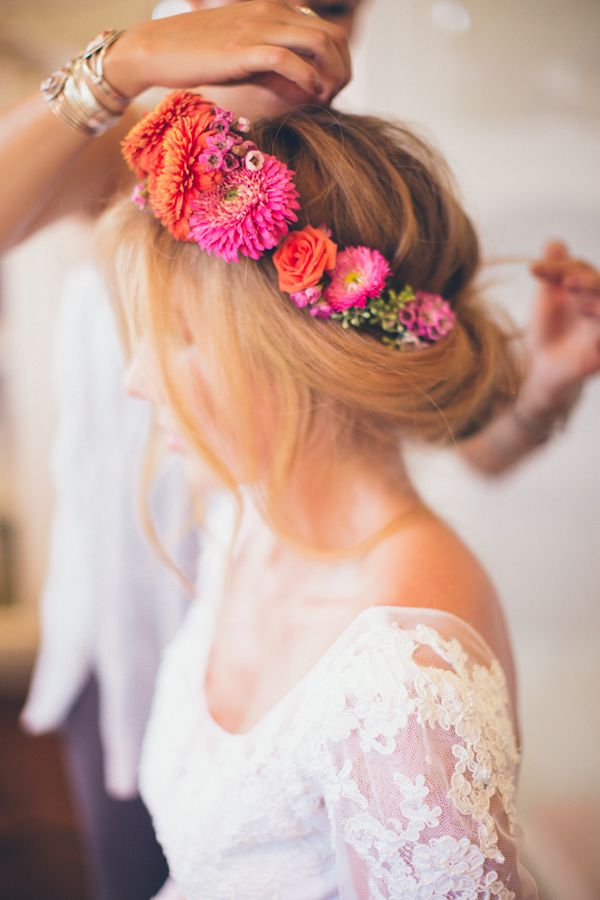 cheerful flower crown, photo by Kelsea Holder http://ruffledblog.com/paso-robles-wedding-with-moms-wedding-gown #flowercrown #floralcrown