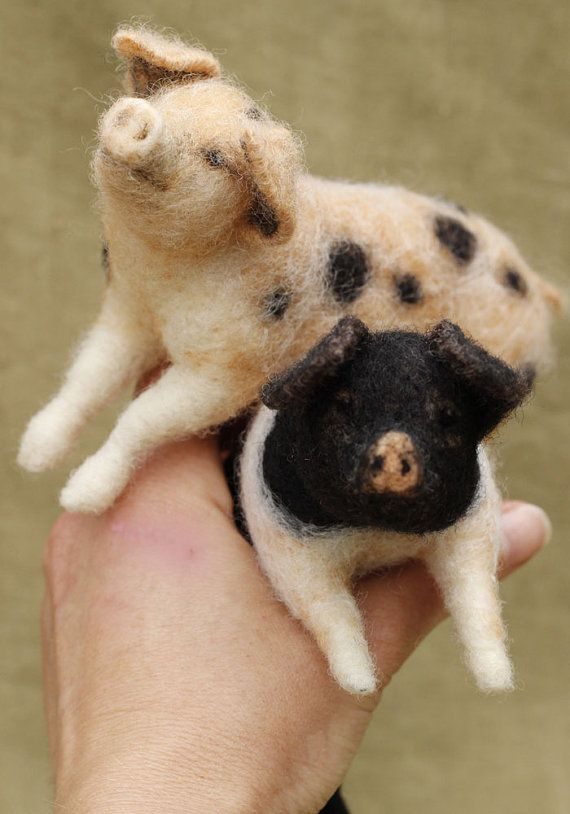 Needle felted spotted pig - READY TO SHIP