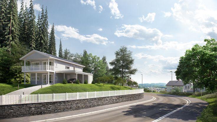 En flott bolig med et mer tradisjonelt uttrykk. Den romslige verandaen er overbygget og kan dermed benyttes selv om det kommer en regnskur.  Store vinduer gir godt lysinnslipp til en åpen stue- og kjøkkenløsning. Carporten har en sportsbod i bakkant, samt takoverbygg inn mot huset.