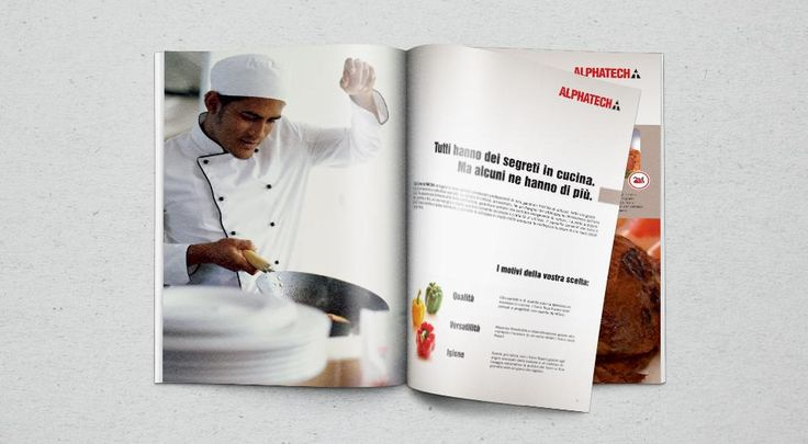 ALPHATECH - ALI GROUP The art direction of photo shoots and the choice of the identificative images for the product lines for the catalogue have been studied to be coherent according with the highest values of the modern professional catering.