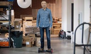 Hoverboard inventor Shane Chen in his workshop.