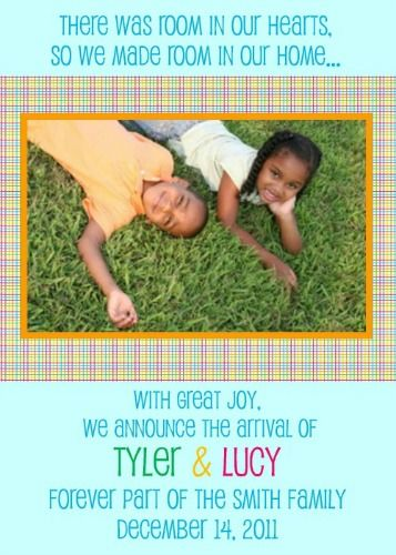 Room In Our Hearts Older Child Adoption Announcement